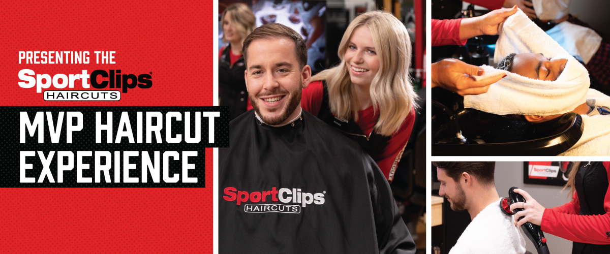 The Sport Clips Haircuts of Poland  MVP Haircut Experience with stylist giving a client a haircut, a hot towel placed on his face, and using a massager on a clients upper back